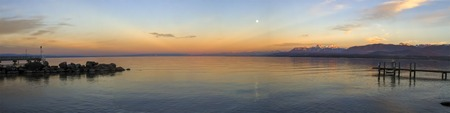 Sunset over Leman or Geneva lake, Excenevex, France
