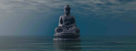 Blue Buddha meditating by sunrise - 3D render 版權商用圖片