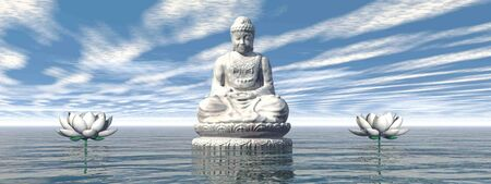 White Buddha meditating by day - 3D render