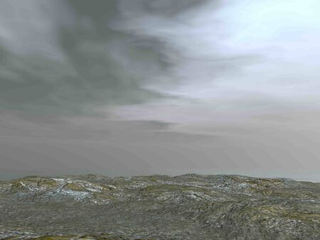 Rocky ground by cloudy morning background - 3D render Фото со стока