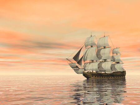 Vieux navire marchand sur l'océan - rendu 3D