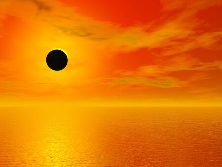 Solar eclipse over the ocean - 3D render Zdjęcie Seryjne
