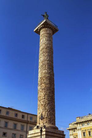 Famous Trajans Column in Rome city, Italy Stock Photo