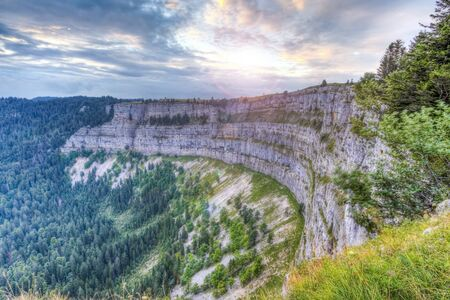 Famous cliff Creux du Van at Neuchatel, Switzerland, HDR