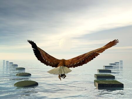 Which way to choose, make a decision, eagle choice flying to the sky - 3D render