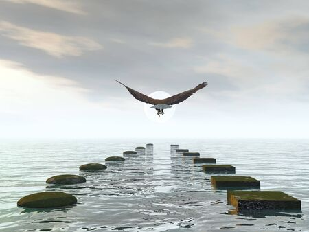 Which way to choose, make a decision, eagle choice - 3D render