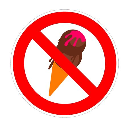 No icecream ice cream forbidden sign, red prohibition symbol
