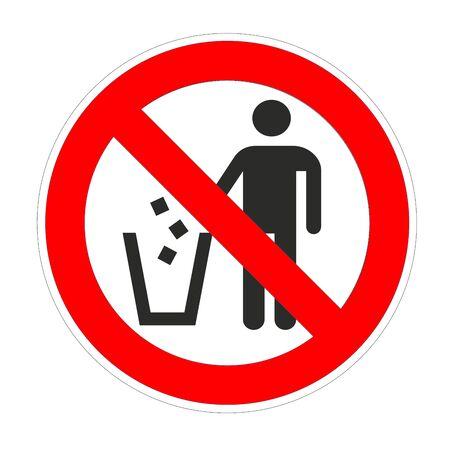 Geen afval rond verboden bord, rood verbodssymbool Stockfoto