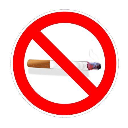 No cigarette or smoke smoking area forbidden sign, red prohibition symbol