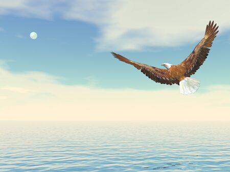 Águila calva volando sobre el océano hasta la luna - 3D render