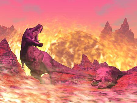 Tyrannosaurus Rex dinosaur dying in the fire - 3D render