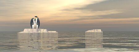 Penguin family upon a small iceberg observing the ocean bysunset - 3D render