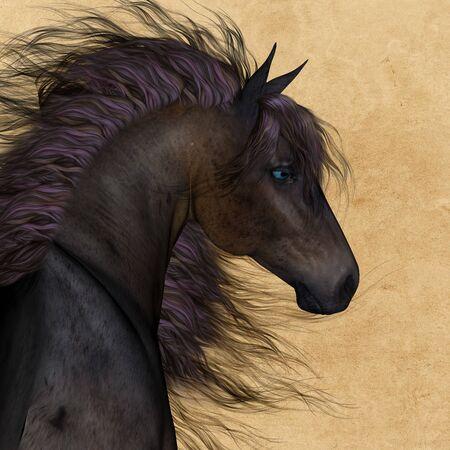 Horse portrait with fantastic mane - 3D render Archivio Fotografico - 138943303