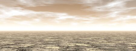 Empty desert by brown cloudy sunset - 3D render Stock Photo - 139891569