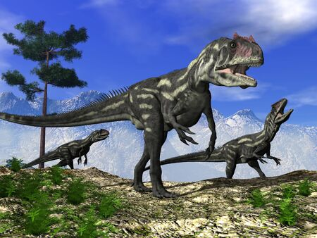 Allosaurus dinosaurs walking on the hill - 3D render