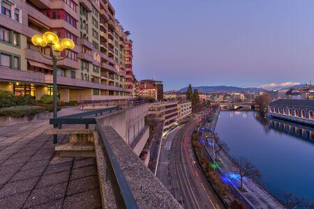 Rhone river and old buildings, Geneva, Switzerland - HDR Imagens