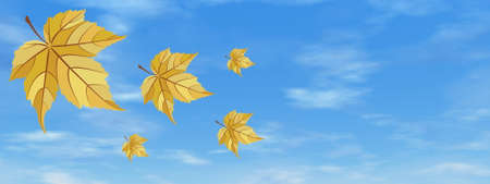 Yellow autumn leaves in the sky background by day - 3D render