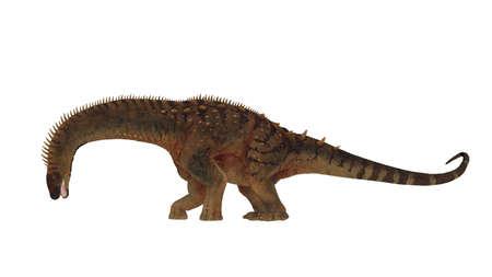 Alamosaurus dinosaur head down eating - 3D render