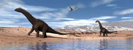 Alamosaurus dinosaurs walk near the lake - 3D render