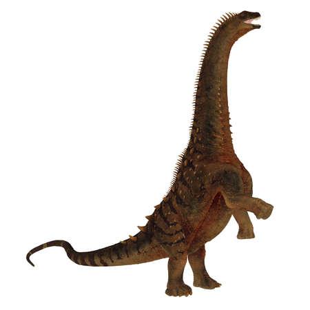 Alamosaurus dinosaur roaring leg up - 3D render