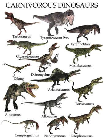 Carnivorous dinosaurs set - 3D render Banque d'images