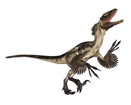Deinonychus dinosaur roaring - 3D render