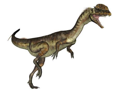Dilophosaurus dinosaur roaring - 3D render