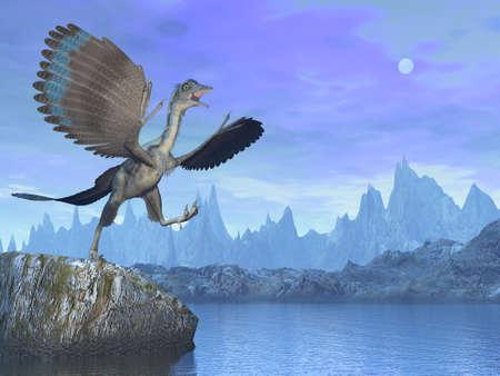 Archaeopteryx prehistoric bird dinosaur - 3D render