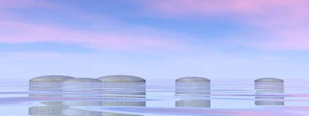 Zen stones by beautiful sunset - 3D render Banque d'images - 157489401