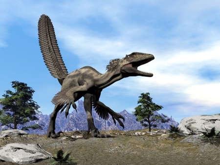 Deinonychus dinosaur roaring head up -3D render Banque d'images