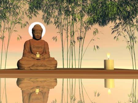 Peaceful buddha meditating - 3D render Banque d'images - 157541622