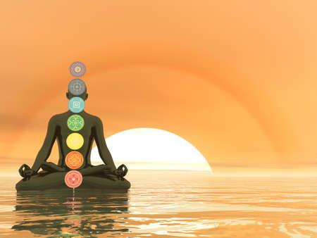 Man meditating upon the ocean and chakra colors - 3D render Standard-Bild
