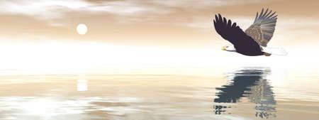 Eagle flying in brown sky - 3D render Banque d'images - 157864387
