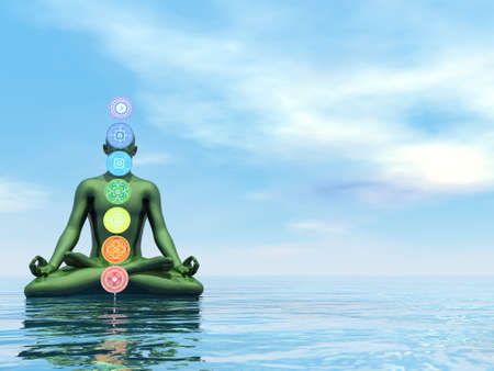 Man meditating upon the ocean and chakra colors - 3D render Banque d'images - 157883571