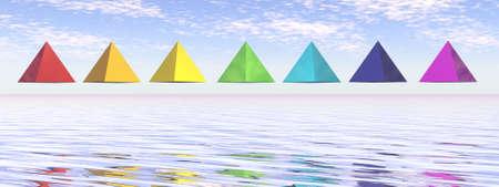Seven chakra pyramids - 3D render Banque d'images - 157883574