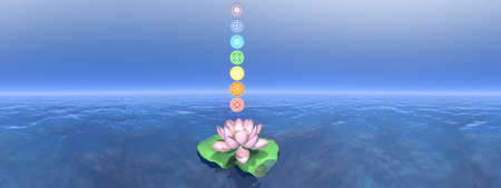 Seven chakra symbols column upon lotus flower - 3D render Banque d'images - 157883576