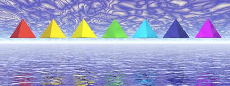 Seven chakra pyramids - 3D render Banque d'images - 157909729