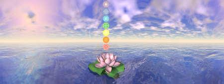 Seven chakra symbols column upon lotus flower - 3D render Banque d'images - 157909730