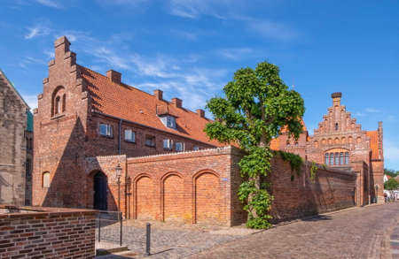 Street and houses in Ribe town, Denmark Banque d'images - 157988464
