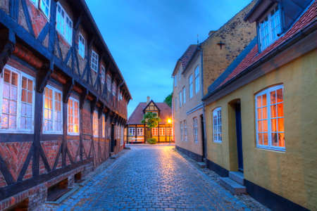Street and houses in Ribe town, Denmark - HDR