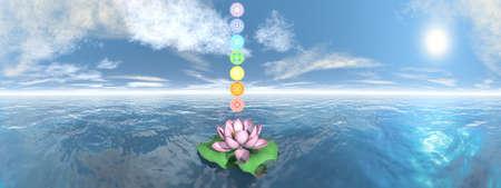Seven chakra symbols column upon lotus flower - 3D render Banque d'images - 158055900