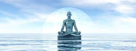 Peaceful man meditating alone - 3D render Banque d'images - 158417279