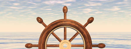 Steering wheel of a ship in front of the sea - 3D render Banque d'images - 158417283