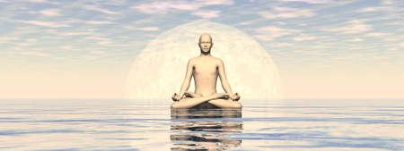 Peaceful man meditating alone - 3D render Banque d'images - 158459236