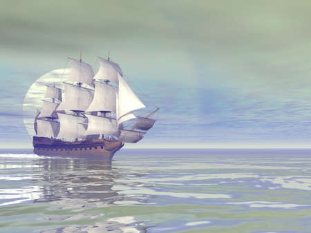 Old merchant ship - 3D render Banque d'images - 158365104
