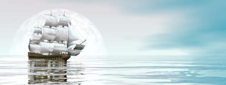 Old merchant ship - 3D render Banque d'images - 158491675