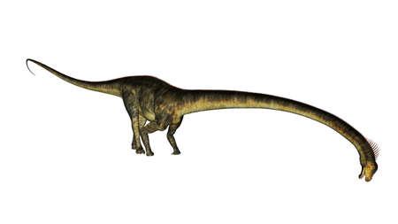 Barosaurus dinosaur drinking - 3D render