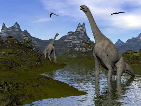 Atlasaurus dinosaurs - 3D render Banque d'images