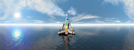 Man meditating upon the ocean and chakra colors - 3D render Banque d'images