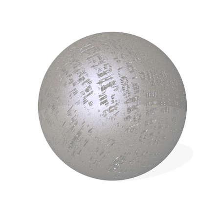 Damaged metal sphere - 3D render Banque d'images - 159664243